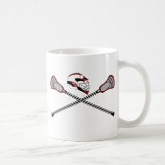 Lacrosse Sticks Crossed Helmet Red Mug