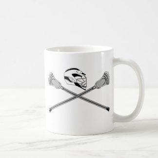 Lacrosse Sticks Crossed White Helmet Coffee Mug