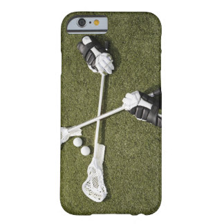 Lacrosse sticks, gloves and balls on artificial barely there iPhone 6 case