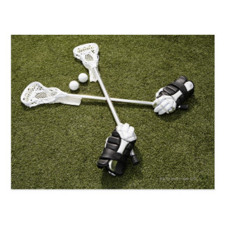 Lacrosse sticks, gloves and balls on artificial postcard