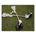 Lacrosse sticks, gloves and balls on artificial poster