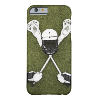 Lacrosse sticks, gloves, balls and sports helmet barely there iPhone 6 case