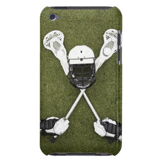 Lacrosse sticks gloves balls and sports helmet barely there iPod case
