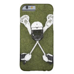 Lacrosse sticks, gloves, balls and sports helmet iPhone 6 case