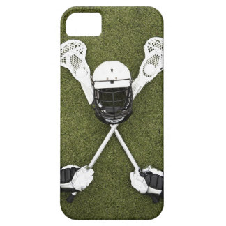 Lacrosse sticks, gloves, balls and sports helmet iPhone 5 cases