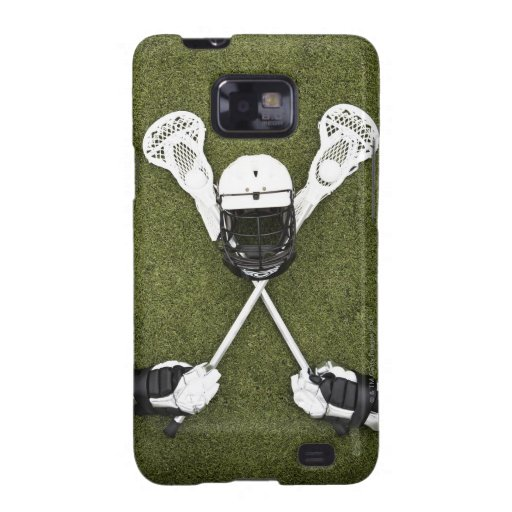 Lacrosse sticks, gloves, balls and sports helmet samsung galaxy s case