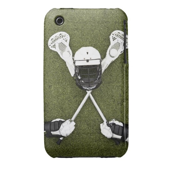 Lacrosse sticks, gloves, balls and sports helmet iPhone 3 case