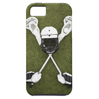 Lacrosse sticks, gloves, balls and sports helmet iPhone SE/5/5s case