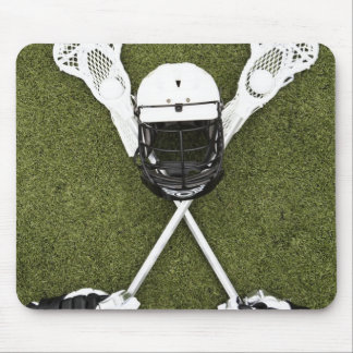 Lacrosse sticks, gloves, balls and sports helmet mouse pad
