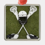 Lacrosse sticks, gloves, balls and sports helmet christmas tree ornaments