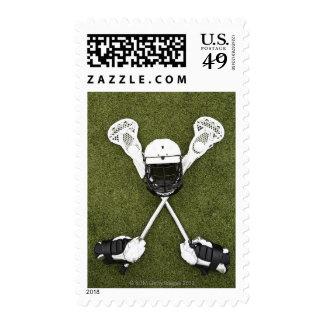 Lacrosse sticks, gloves, balls and sports helmet stamps