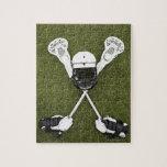 Lacrosse sticks, gloves, balls and sports helmet puzzles