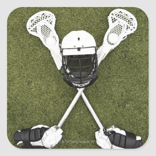 Lacrosse sticks, gloves, balls and sports helmet stickers