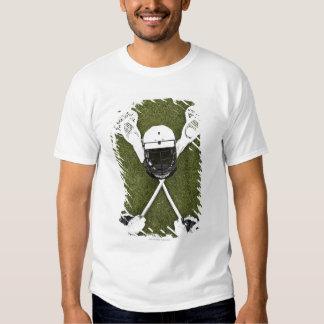 Lacrosse sticks, gloves, balls and sports helmet t shirt