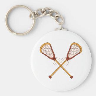 Lacrosse Sticks Basic Round Button Keychain