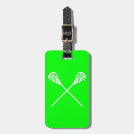 Lacrosse Sticks Luggage Tag Green