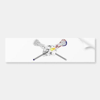 Lacrosse sticks with helmet car bumper sticker