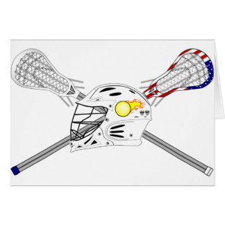 Lacrosse sticks with helmet greeting card