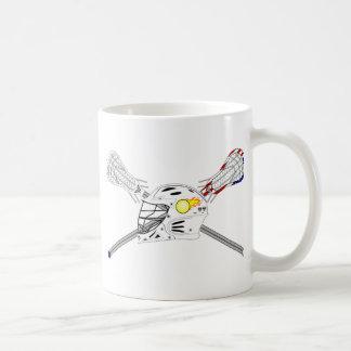 Lacrosse sticks with helmet coffee mug