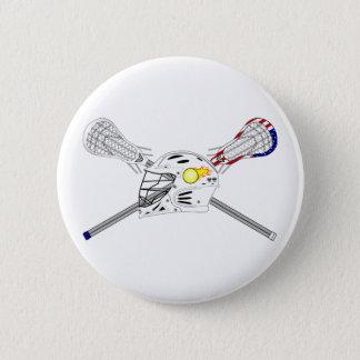 Lacrosse sticks with helmet pinback button