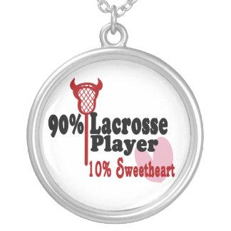 Lacrosse Sweetheart Round Pendant Necklace