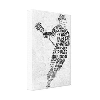 Lacrosse Typography Design Gallery Wrapped Canvas