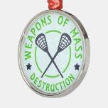 Lacrosse Weapons of Destruction Christmas Ornaments