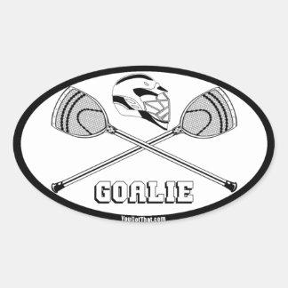 Lacrosse white goalie sticks with GOALIE Oval Sticker