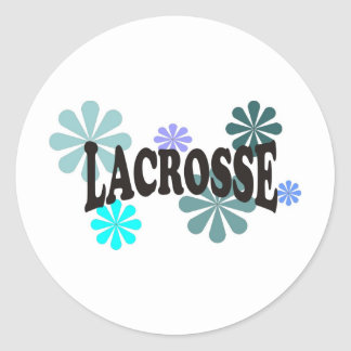 Lacrosse with Blue Flowers Classic Round Sticker