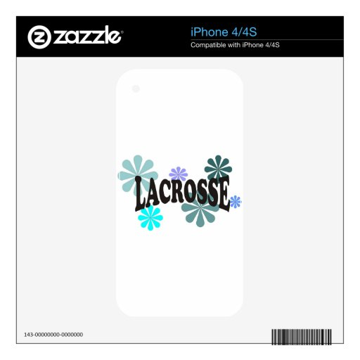 Lacrosse with Blue Flowers Decal For iPhone 4