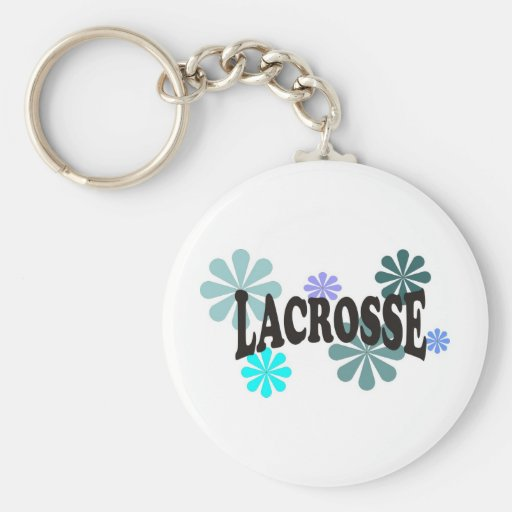 Lacrosse with Blue Flowers Key Chain