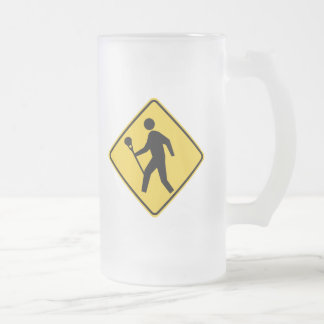 Lacrossing Frosted Glass Beer Mug