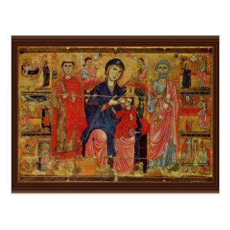Lactans Madonna Enthroned con San Pedro y St. L Tarjeta Postal