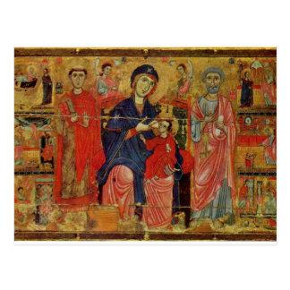 Lactans Madonna Enthroned con San Pedro y St. L Postales