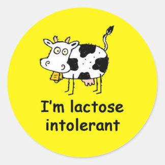 Lactose Intolerant Allergy Alert Classic Round Sticker