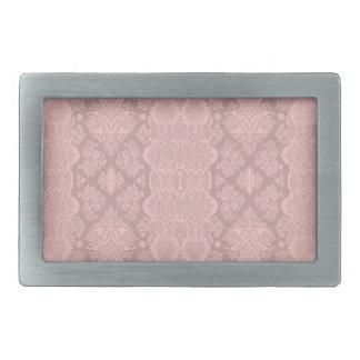 Lacy Antique Pink Vintage Floral Pattern Rectangular Belt Buckles