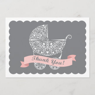 Lacy Baby Carriage Thank You Note Girl