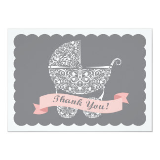 Lacy Baby Carriage Thank You Note Girl Card