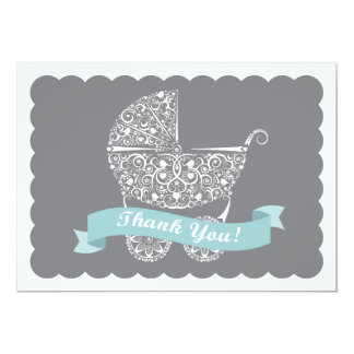 """Lacy Baby Carriage Thank You Note 5"""" X 7"""" Invitation Card"""