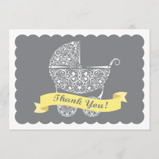 Lacy Baby Carriage Thank You Note Yellow