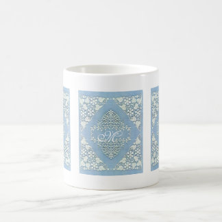 Lacy Blue Monogram Coffee Cup