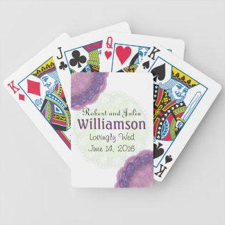 Lacy Blue Purple Monogram Wedding Playing Cards