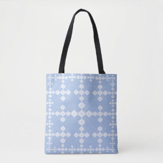 Lacy Blue White Geometric Crop Circle Tote Bag