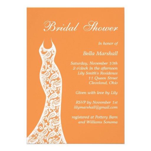 Lacy Bridal Shower Invitation in Orange from Zazzle.com