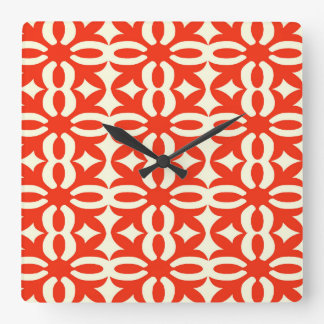 Lacy Bright Red Victorian Print Square Wall Clock