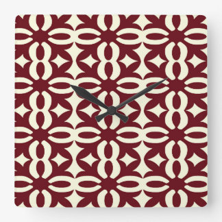 Lacy Brown Victorian Print Square Wall Clock