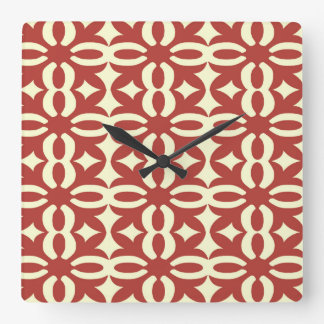 Lacy Cherry Victorian Print Square Wall Clock