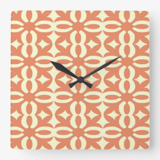 Lacy Coral Victorian Print Square Wall Clock