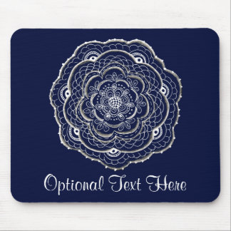 Lacy Crochet Look Doily Hand Drawn Flower Doodle Mouse Pad