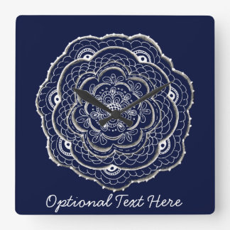 Lacy Crochet Look Doily Hand Drawn Flower Doodle Square Wall Clock